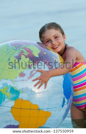 Summer joy, lovely girl playing in the sea - stock photo