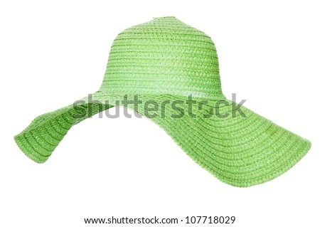 Summer ladies hat isolated on white background - stock photo