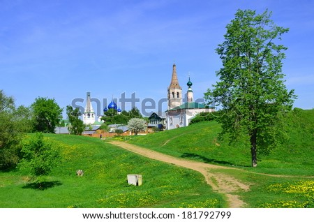 Summer ladscape of Suzdal, old russian city in Vladimir region, Russia