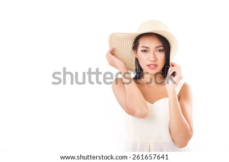 summer lady looking at you, white background with space - stock photo
