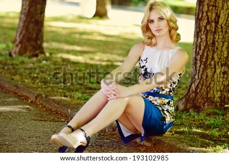 summer lady walking in the city - stock photo