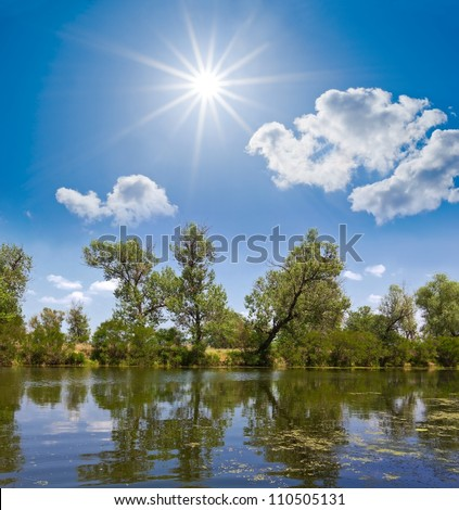 summer lake scene - stock photo