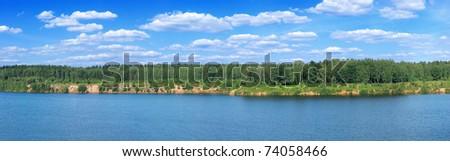 summer lakeside panoramic - stock photo
