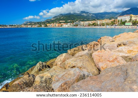 Summer landscape and famous beach,Menton,Azur Coast,France,Europe - stock photo