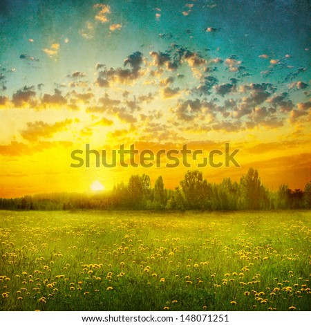 Summer landscape at sunset in grunge and retro style. - stock photo