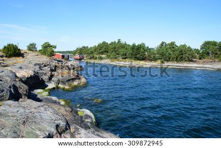 Summer landscape at the Swedish east coast - stock photo