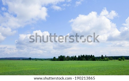 summer landscape beautiful clouds in the blue sky over the boundless field on a sunny day - stock photo
