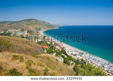 Summer landscape, Black Sea, Crimea, Ukraine - stock photo