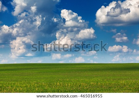 Summer landscape, blue sly with clouds above field.