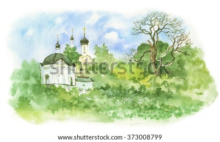 summer landscape, church, chapel,illustration watercolor