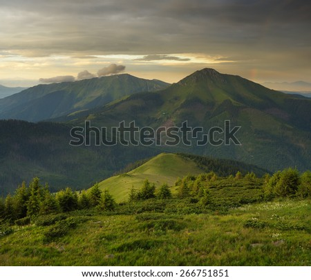 Summer landscape. Evening in the Mountains - stock photo