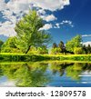 Summer landscape. Green trees on blue sky background - stock photo