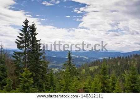 Summer landscape in Beskid Zywiecki, Poland - stock photo
