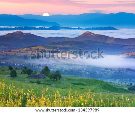 Summer landscape in the Carpathian mountains village. Ukraine, Europe. - stock photo