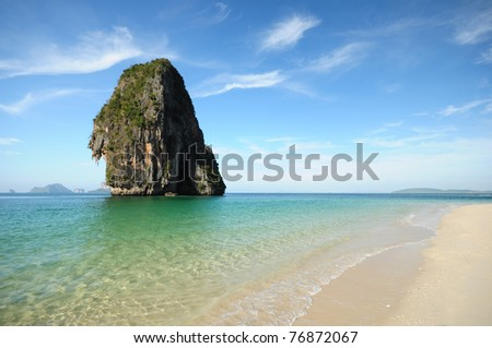 summer landscape in the mountain and sea , Krabi , Thailand - stock photo