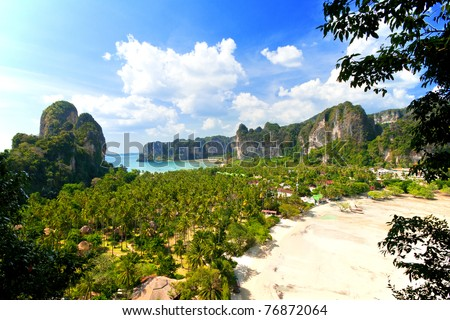 summer landscape in the mountains and sea, view point , Krabi , Thailand - stock photo