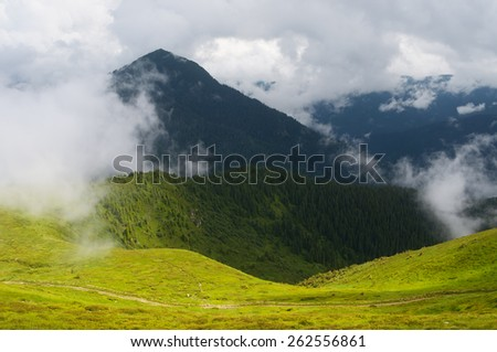 Summer landscape in the mountains. Clouds shroud the summit. Beauty in nature - stock photo