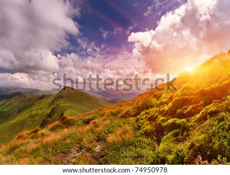 Summer landscape in the mountains. Sunset - stock photo