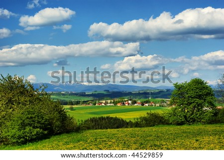 """Summer landscape in the north of Czech Republic - This area called """"Czech Paradise"""". - stock photo"""