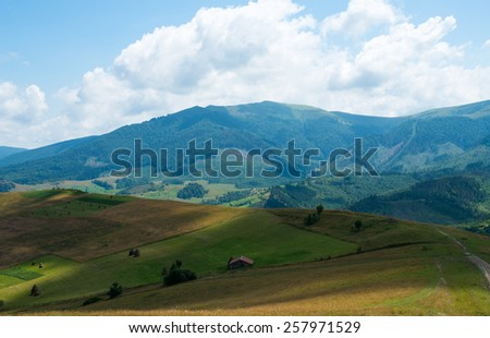 Summer landscape in the Ukrainian Carpathian Mountains. - stock photo