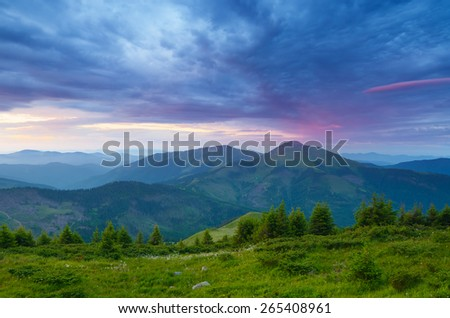Summer landscape. Morning in the mountains. Beauty in nature - stock photo