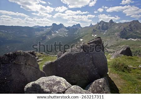 summer landscape mountain Ergaki, West Sayan on a sunny summer day - stock photo