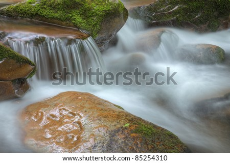 Summer landscape of a cascade on Big Creek, Great Smoky Mountains National Park, Tennessee, USA - stock photo