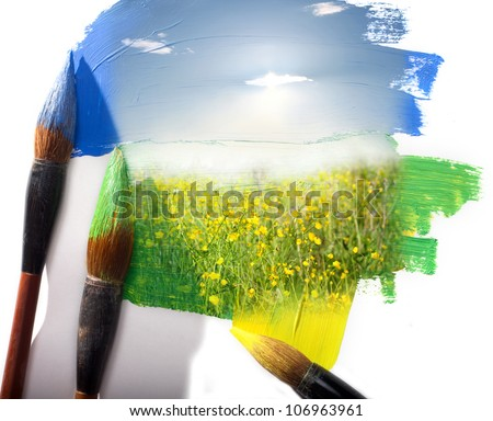 Summer landscape of a field with yellow colors. Painting imitation. - stock photo