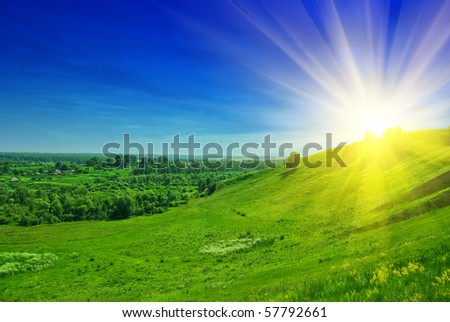summer landscape of green valley and blue sky - stock photo