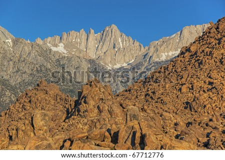 Summer landscape of the Alabama Hills and Mt. Whitney, Eastern Sierra Nevada Mountains, California, USA - stock photo