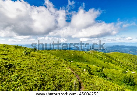 summer landscape. path through hillside meadow on the mountain ridge under the cloudy sky