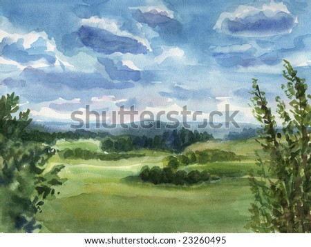 Summer landscape. Really watercolor illustration. - stock photo