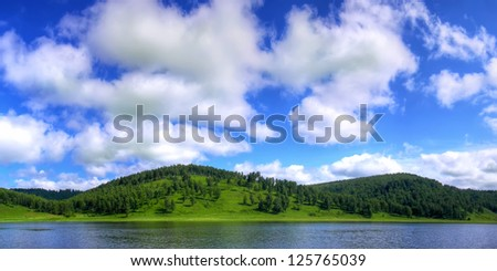 summer landscape, summer background, summer in Russia, summer panorama, panoramic landscape, - stock photo