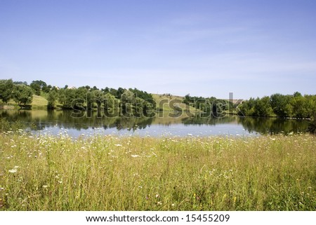 Summer landscape.The rural landscape is on a pond. Wild nature.
