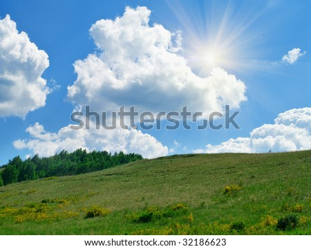 Summer landscape. Trees on hills of the Ural mountains