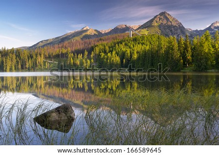 Summer landscape with a beautiful lake in the mountains. Slovakia, lake Strbske Pleso