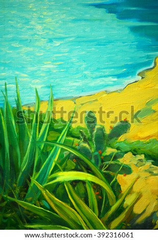 summer landscape with a sea and bank, painting by oil, illustration - stock photo