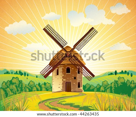 Summer landscape with a windmill - stock photo
