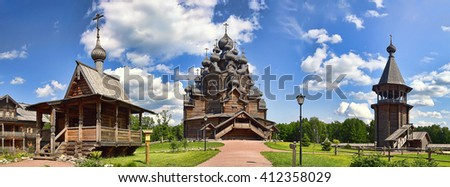 Summer landscape with a wooden manor in the countryside
