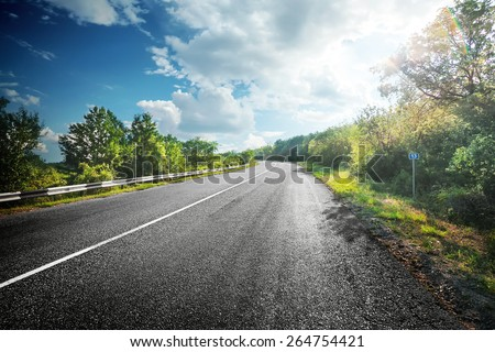 Summer landscape with an asphalt road between green trees under cloudy sky