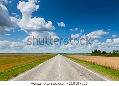 Summer landscape with asphalt road