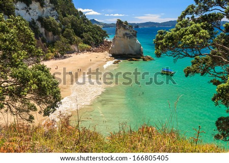Summer Landscape with Blue Sky on the Pacific Sea Coast, Cathedral Cove, Coromandel Peninsula, North Island, New Zealand - stock photo
