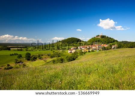 Summer Landscape with Castle Leuchtenburg - stock photo