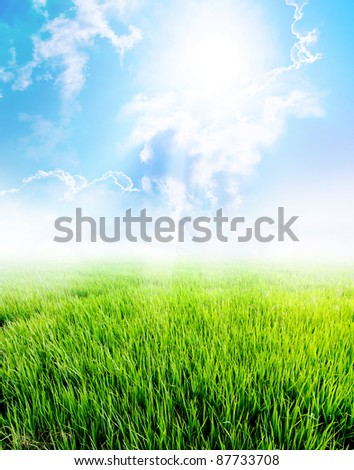 Summer landscape with cloud and blue sky - stock photo