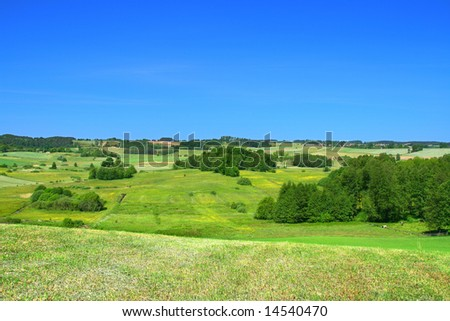 summer landscape with cloudless sky - stock photo