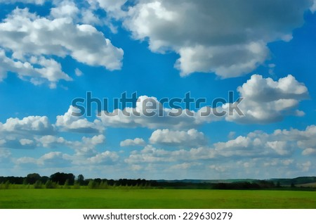 Summer landscape with green field and trees under cloudy blue sky. Stylized as painting. - stock photo