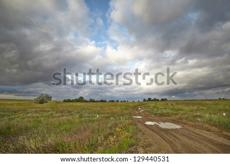 Summer landscape with green grass, country road and clouds - stock photo