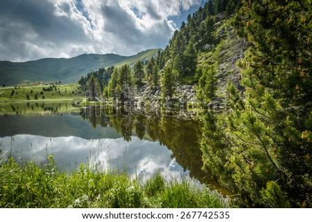 Summer landscape with lake and Alps-Biosphaerenpark Nockberge ,Austria. - stock photo