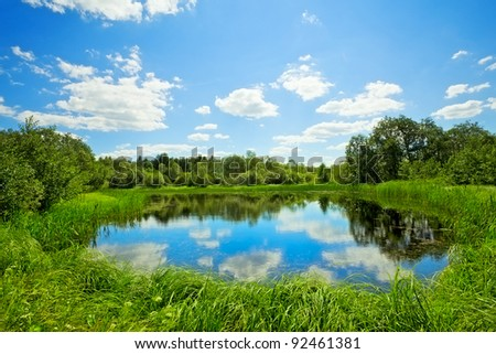 summer landscape with lake at sunny day - stock photo