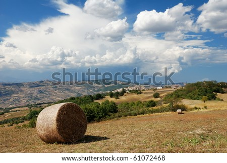 Summer landscape with little village of Montagano in Molise a region of center Italy - stock photo